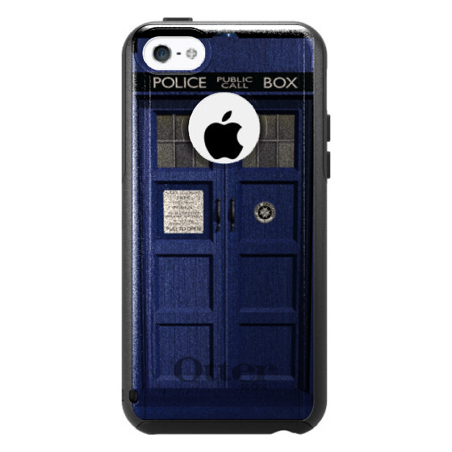 DistinctInk™ Custom Black OtterBox Commuter Series Case for Apple iPhone 5C - London Police Call Box TARDIS