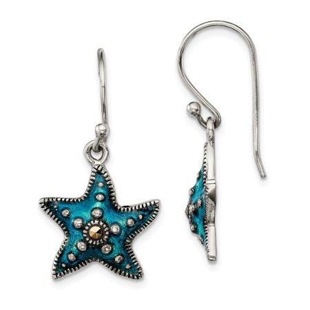 925 Sterling Silver Antiqued Blue Epoxy Marcasite Star Dangle Earrings