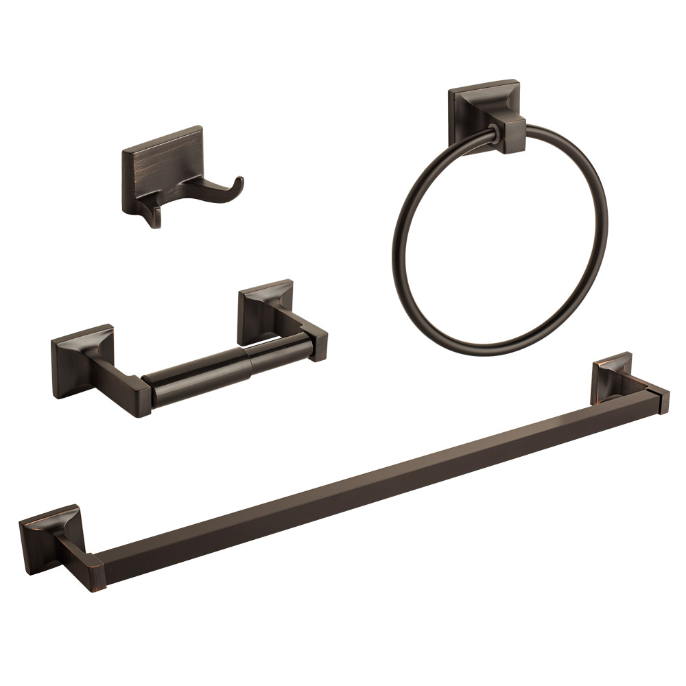 4 Pcs Oil Rubbed Bronze Bathroom Hardware Bath Accessory Set Towel Bar Hook Ring by