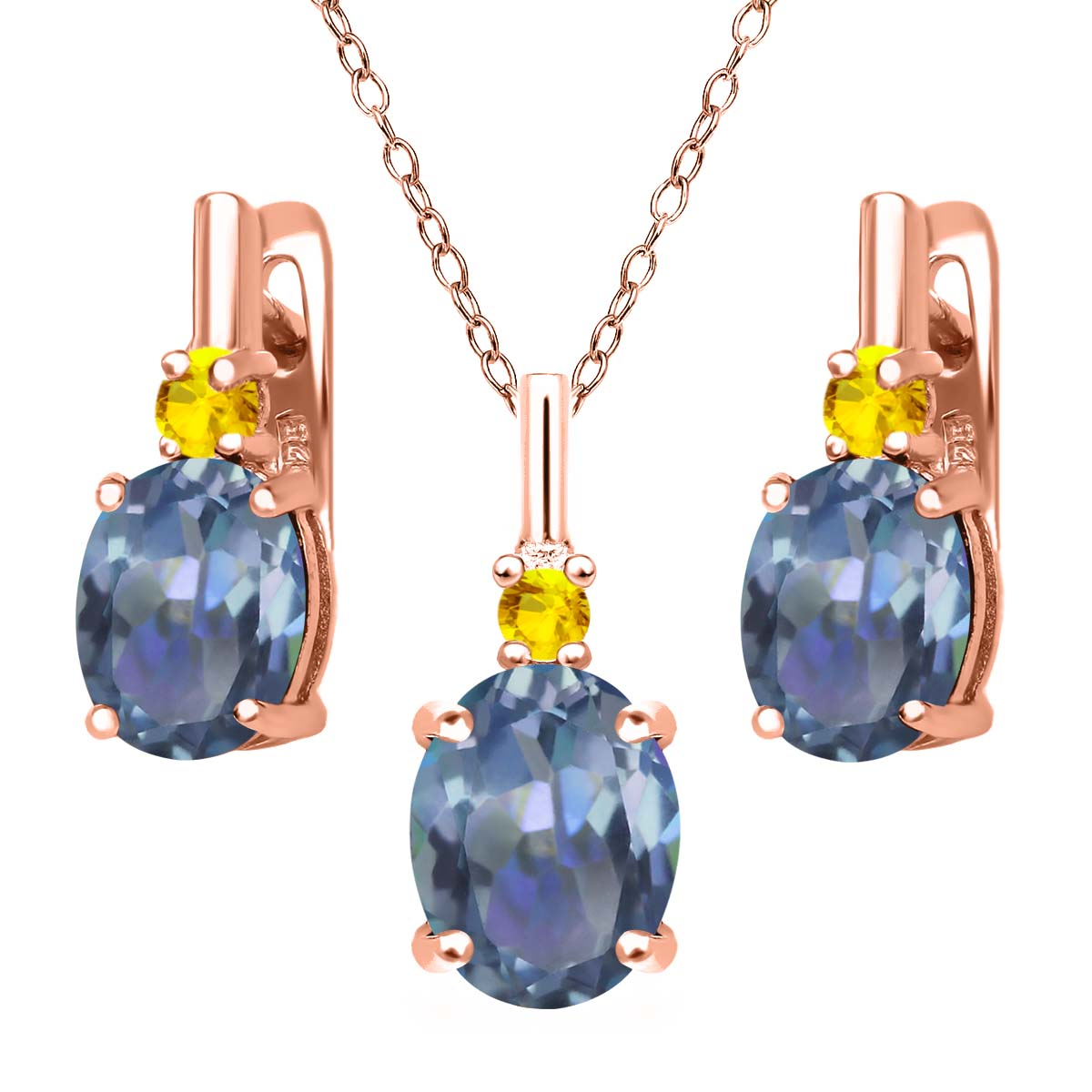 6.99 Ct Cassiopeia Mystic Topaz Yellow Sapphire 18K Rose Gold Plated Silver Pendant Earrings Set by