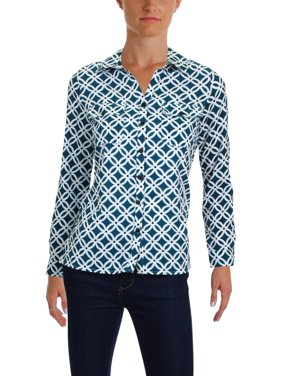 6a5bebfcf9c Product Image NY Collection Womens Petites Printed Utility Button-Down Top