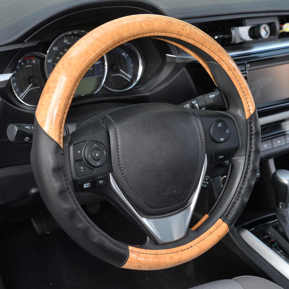 ACDelco Car Steering Wheel Cover Two Tone Synthetic Leather Black Comfort Grip & Light Wood (Maple)