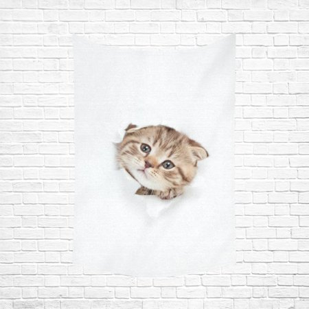 PHFZK Funny Kitten Wall Art Home Decor, Animal Cat Looking out Paper Hole Tapestry Wall Hanging 60 X 90 Inches Animals Hanging Cut Out