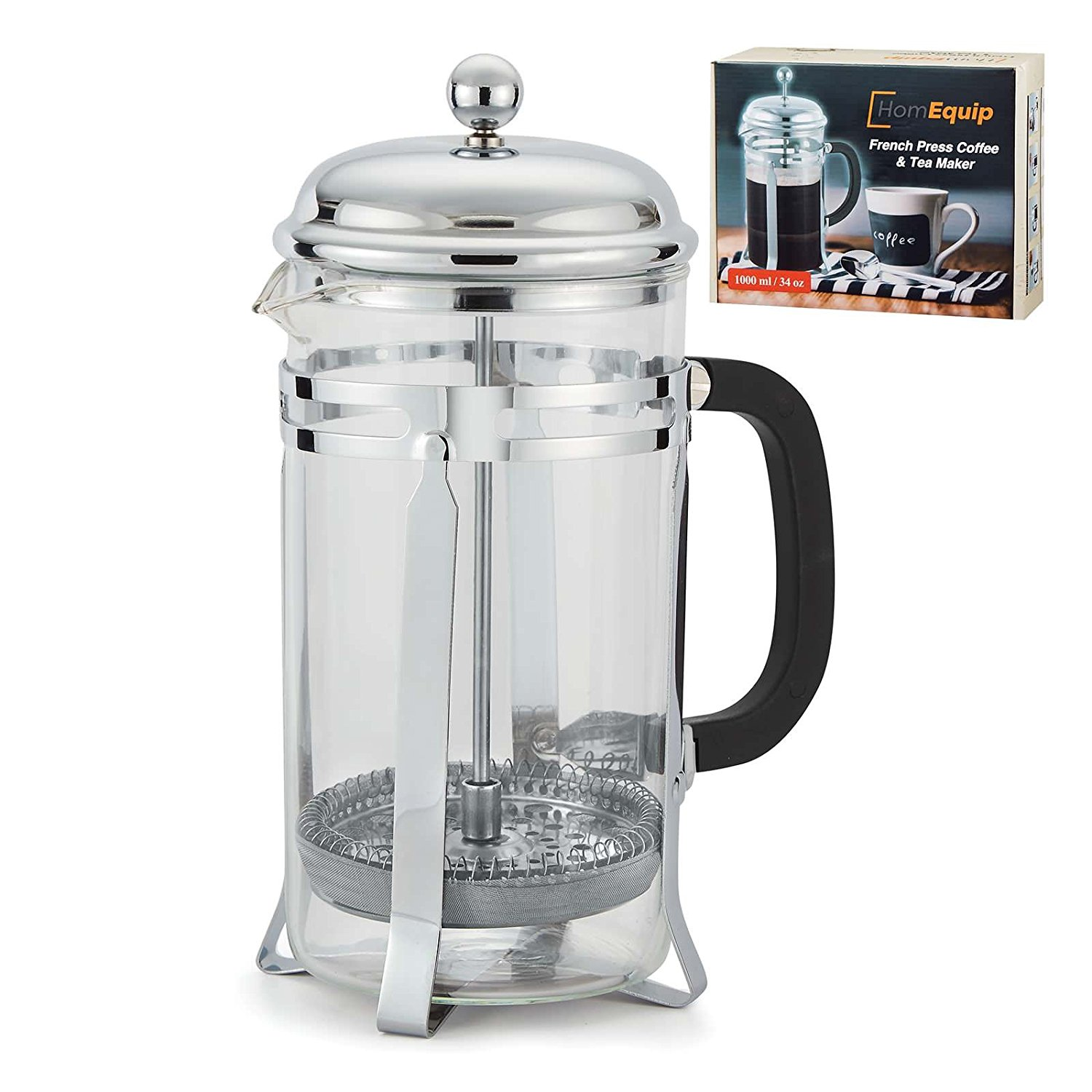 French Press Coffee Maker - Heat Resistant Borosilicate Glass Pot and Stainless Steel Triple Filter - Bonus Strainers, Spoons, Cleaning Brush and Gift Box - 8 Cups - by HomeEquip