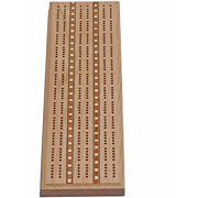 Classic Cribbage Set, Solid Oak Wood with Inlay Sprint 3 Track Board with Metal Pegs