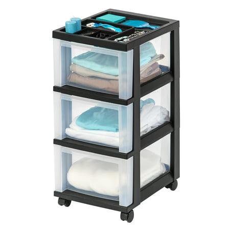 IRIS USA, 3-Drawer Rolling Storage Cart with Organizer Top, Black