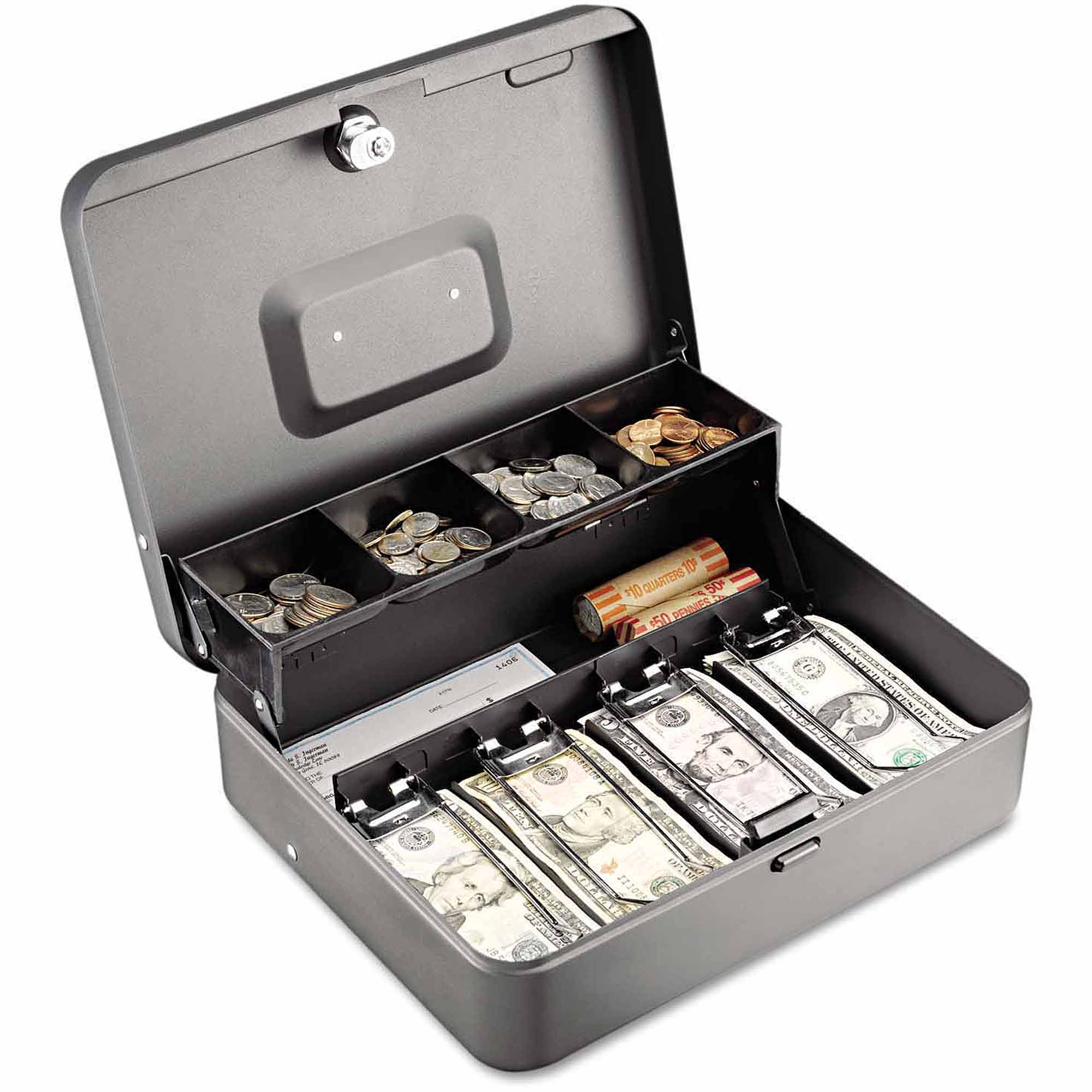 "SteelMaster Tiered Cash Box with Bill Weights, 12"", Cam Key Lock, Charcoal"