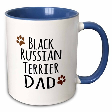 3dRose Black Russian Terrier Dog Dad - Doggie by breed - brown muddy paw print - doggy lover - pet owner - Two Tone Blue Mug, - Black Russian Terrier Dogs