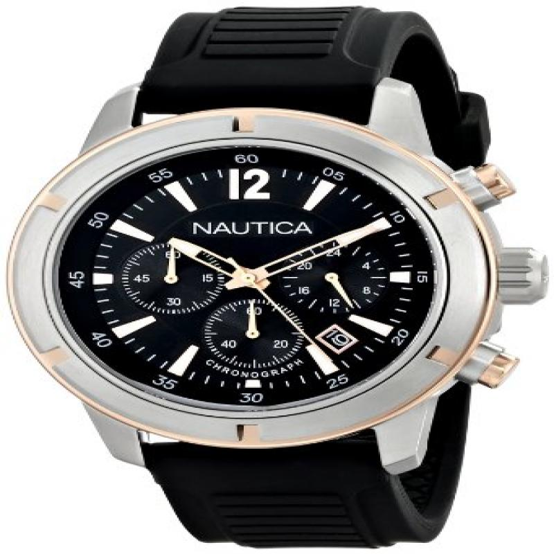Nautica Men's Nsr 19 N17654G Black Silicone Quartz Watch