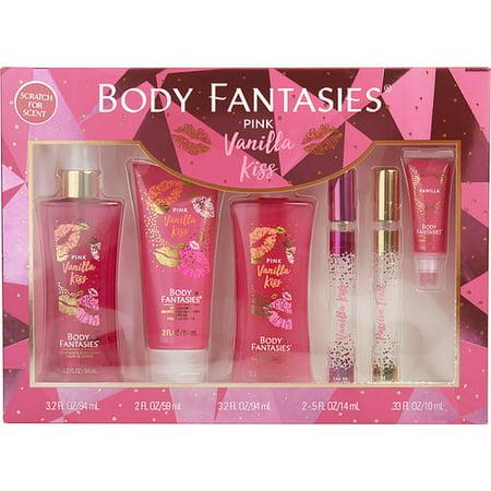 BODY FANTASIES PINK VANILLA KISS FANTASY by Body Fantasies - BODY SPRAY 3.2 OZ & BODY CREAM 2 OZ & BODY WASH 3.2 OZ & EDT SPRAY .5 OZ & DAZZLING PASSIONFRUIT EDT SPRAY .5 OZ & LIP GLOSS .33 OZ - WOMEN