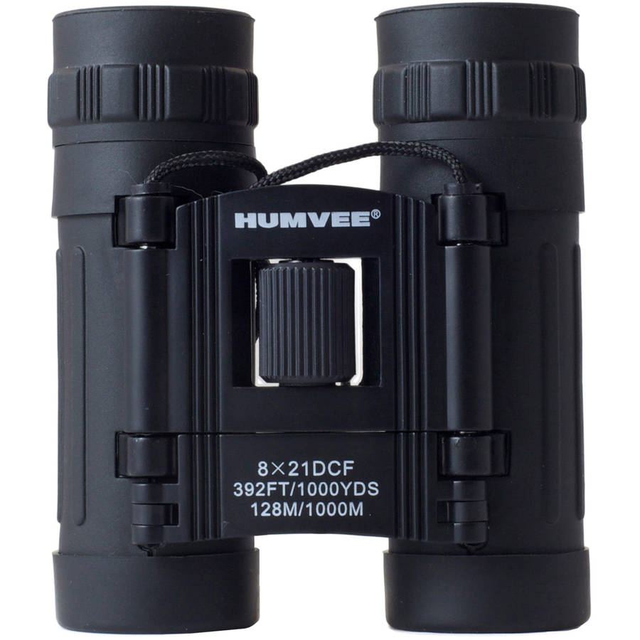 Anti-Reflective Compact Binoculars with Carrying Case, Humvee, 8x21, Black