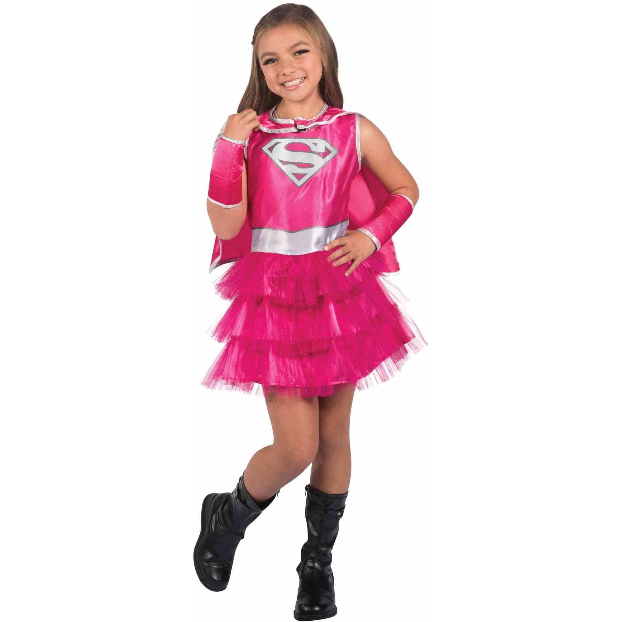 Pink Supergirl Child's Costume, Medium (8-10)
