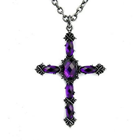 (Purple Stone Vampire Cross Necklace Pendant Gothic Victorian Lolita)