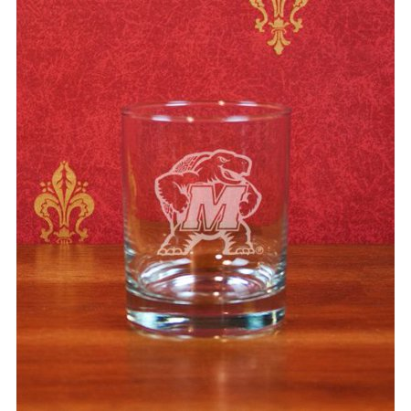 Maryland Terrapins Deep Etched Double Old Fashion Glass