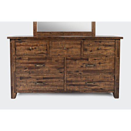 Transitional Style 7 Drawers Wooden Master Dresser With Metal Handles , -