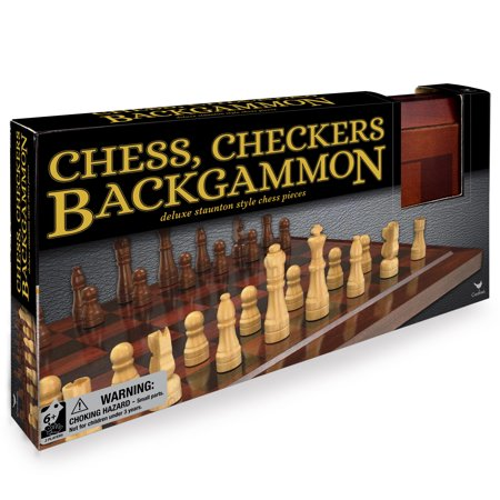 Wooden Chess, Checkers, and Backgammon Game Set