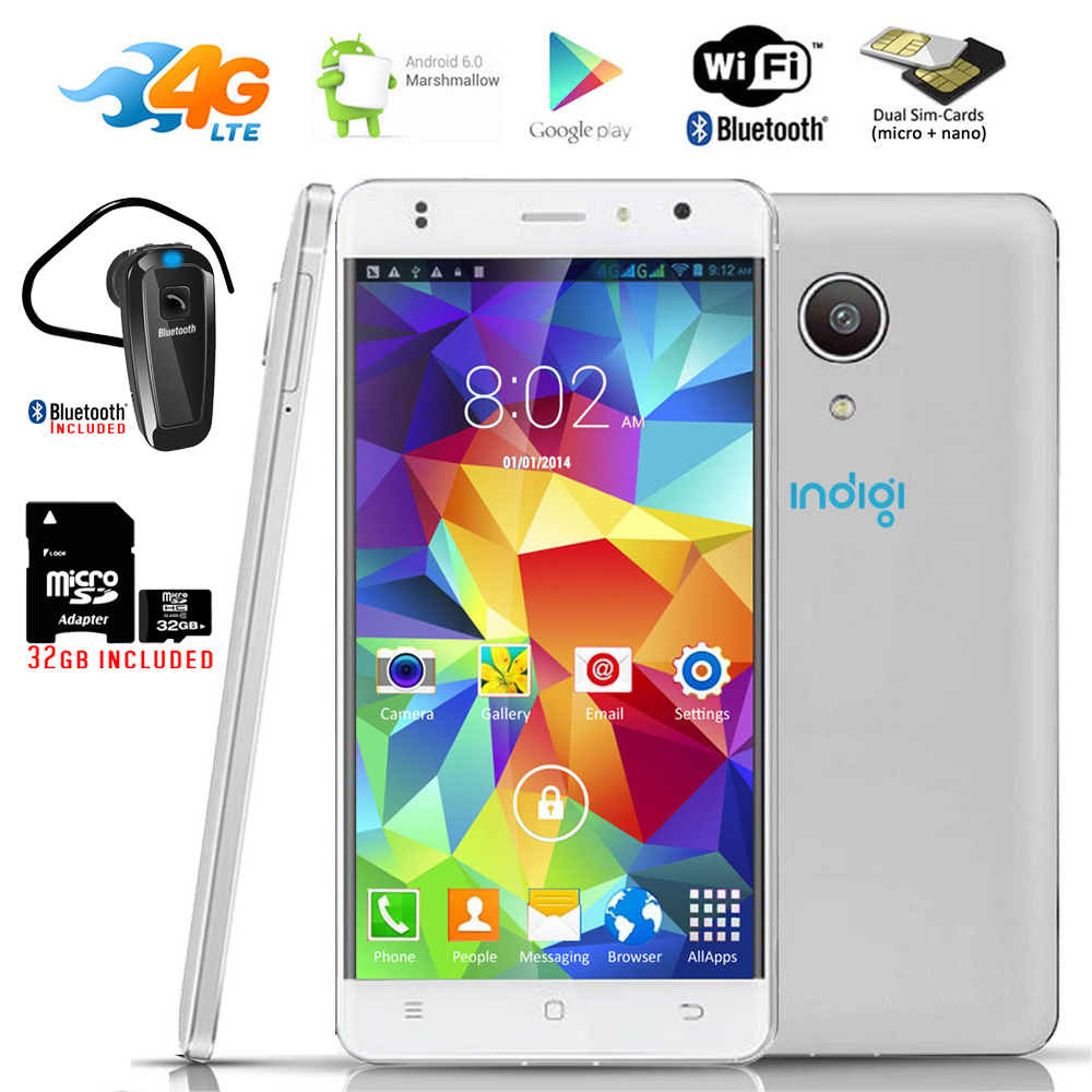 """Indigi® GSM UNLOCKED 4G LTE Smart Phone Android 6 2Sim 4Core 5.0"""" LCD + Bundle Included"""