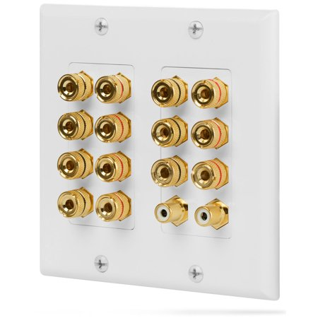 Fosmon [Surround Distribution] Home Theater Wall Plate - Premium Quality Gold Plated Copper Banana Binding Post Coupler Type Wall Plate for Speakers and RCA Jack for Subwoofer