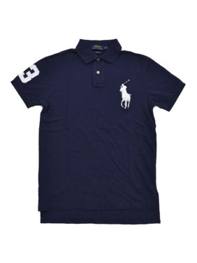 f302f503 Product Image Polo Ralph Lauren Men's Big Pony Custom Fit Mesh Polo Shirt  (M, Navy)