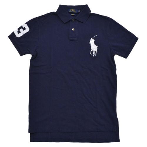 Polo Ralph Lauren Men's Big Pony Custom Fit Mesh Polo Shirt (M, Navy)