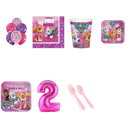 Paw Patrol Pink 2nd birthday supplies party pack for 16