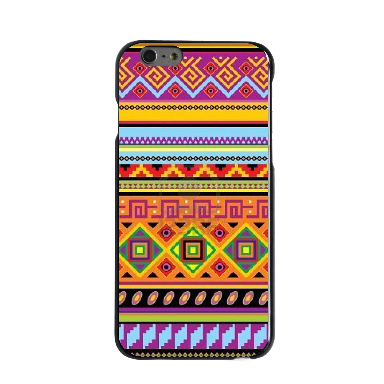 "CUSTOM Black Hard Plastic Snap-On Case for Apple iPhone 6 PLUS / 6S PLUS (5.5"" Screen) - Blue Orange Purple Tribal Print"