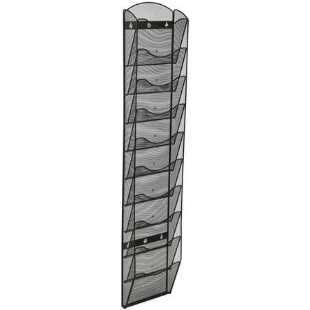 Wall Mount Literature Rack, File Folder Organizer, 10 Dividable Pockets (Black Steel Mesh) (MSHWL10BK)