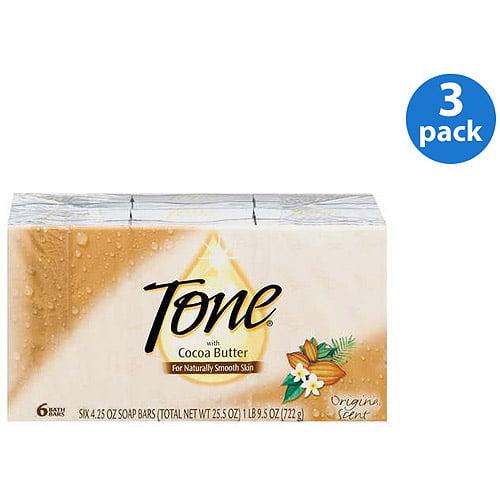 Tone Original Scent W/Cocoa Butter 4.25 oz Soap 6 ct (Pack of 3)