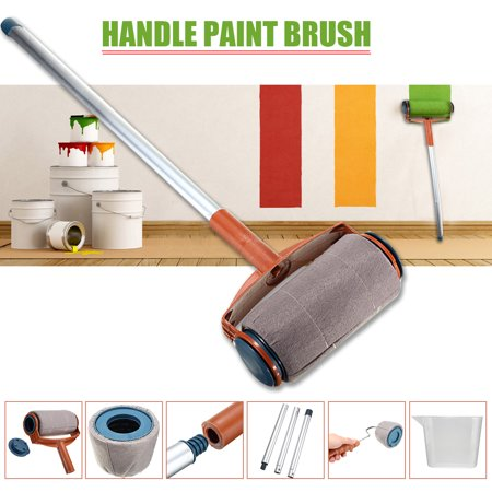 6PCs Paint Roller Kit Painting Runner Set Paint Roller Easy-Pour Jug Extended Poles Handle Tool Flocked Edger Corner Cutter Home Office Wall Printing Tool Set with Aluminum (Extended Handle)