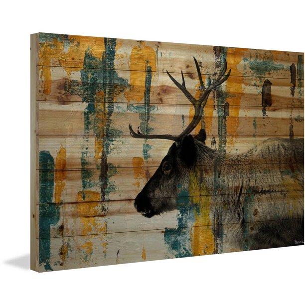 Parvez Taj Teal Yellow Reindeer Painting Print On Natural Pine Wood Walmart Com Walmart Com