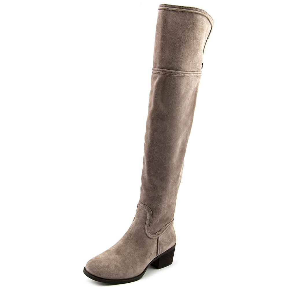 Vince Camuto Baldwin Women  Round Toe Suede Gray Over the Knee Boot