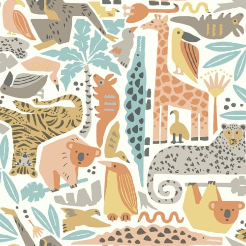 York Wallcoverings DW2301 56 Square Foot - Jungle Puzzle - Pre-Pasted Non-Woven