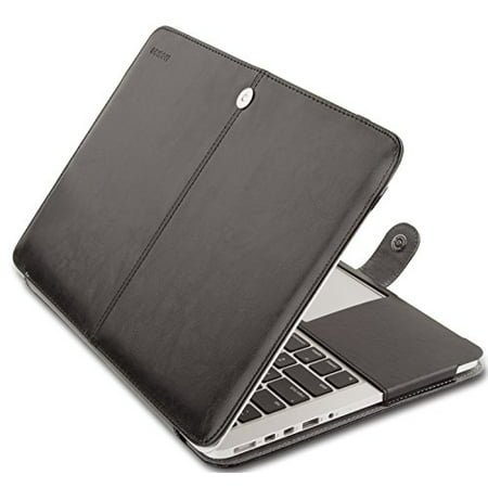 Mosiso MacBook Pro 13 Retina Case PU Leather Sleeve Folio Cover for MacBook Pro 13.3 Inch Retina (Model: A1502 / A1425, Black Pebble Grain Leather Laptop Case