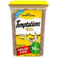 TEMPTATIONS Classic Cat Treats Tasty Chicken Flavor, 16 oz. Tub (Value Size)