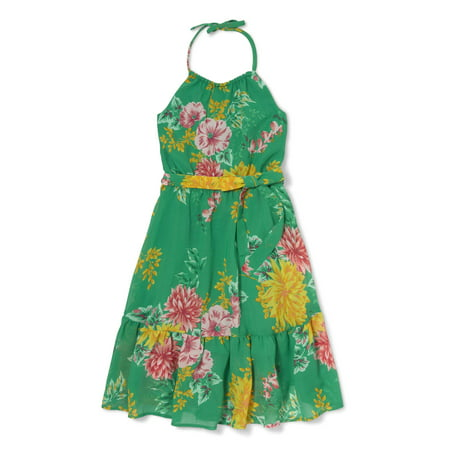 Floral Print Halter Dress (Little Girls & Big Girls)
