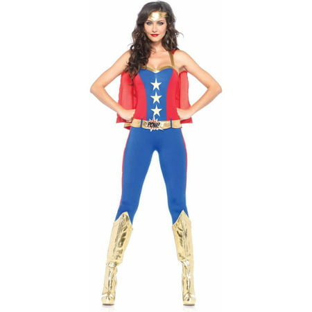 Leg Avenue Women's 3 Piece Comic Book Super Hero Costume, Blue/Red, Small - Womans Super Hero Costume