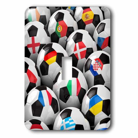 3dRose England Germany Portugal Spain, DM, Czech Republic Italy France Greece Ukraine flags on Soccer balls, Single Toggle Switch