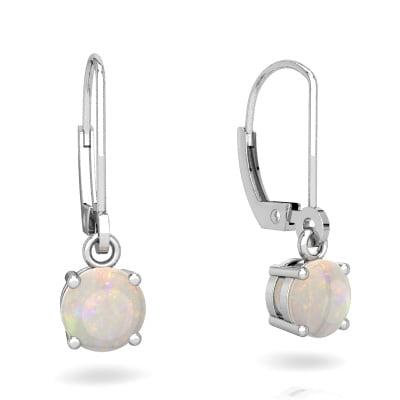 Opal Lever Back Earrings in 14K White Gold by