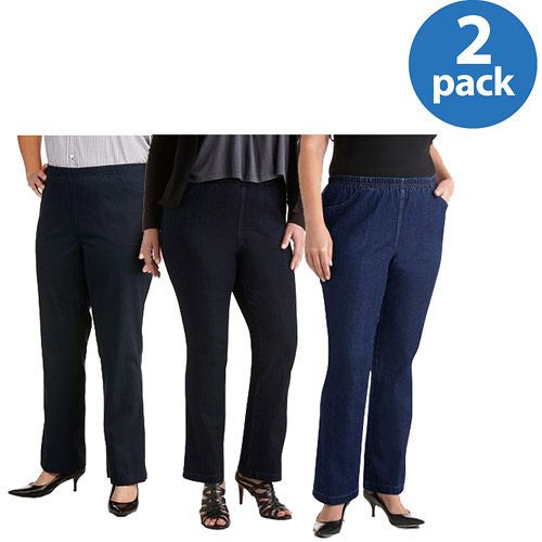 Just My Size Women's Plus-Size 4 Pocket Pull On Bootcut Stretch Jeans 2 Pack Value Bundle