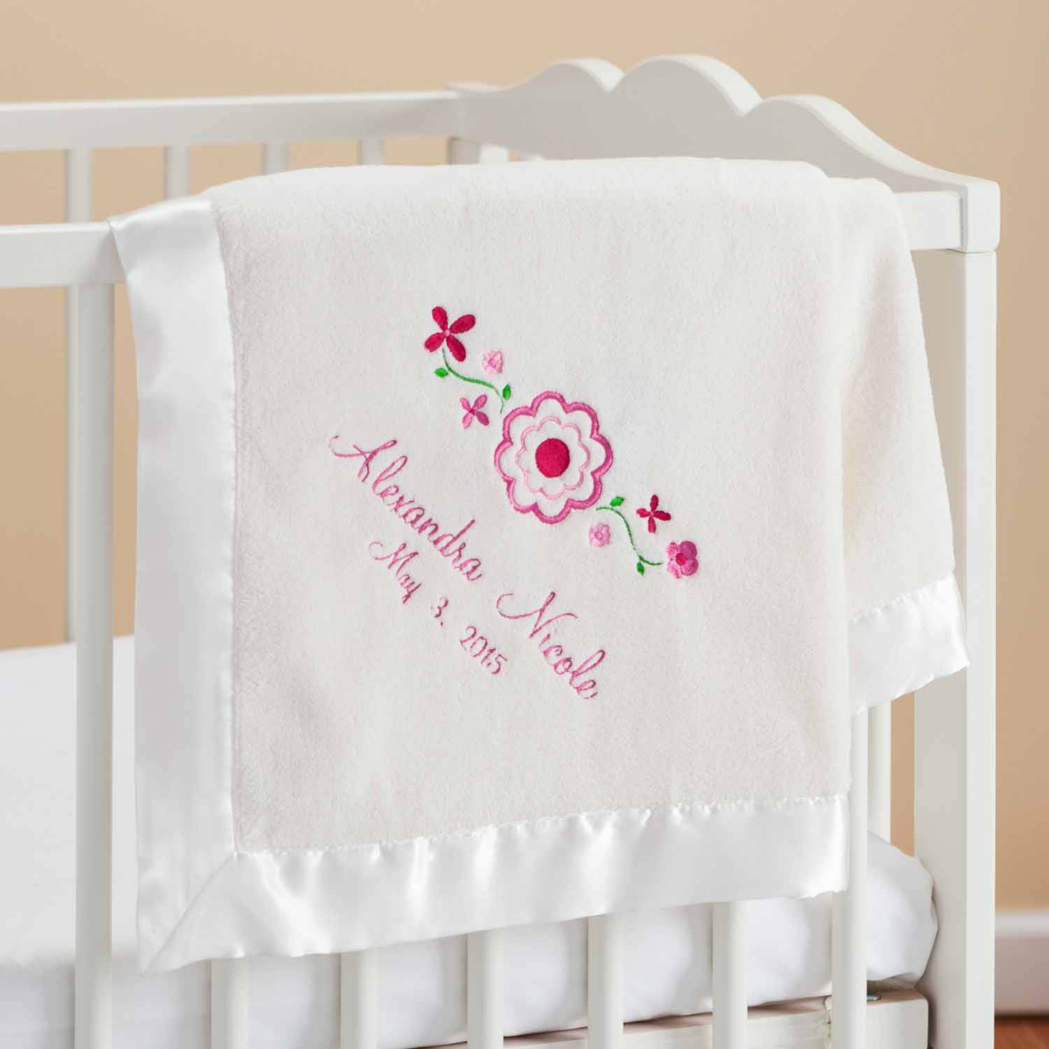 Personalized Pretty Flowers Cream Baby Blanket