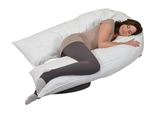 Oversized Total Body Pregnancy Maternity Pillow Full Support with Zippered Cover White 19 x 130 Inches by Web Linens Inc