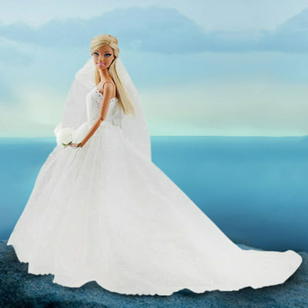 Doll Bridal Wedding Gown Embroidery Dress w/ Veil White - Walmart.com