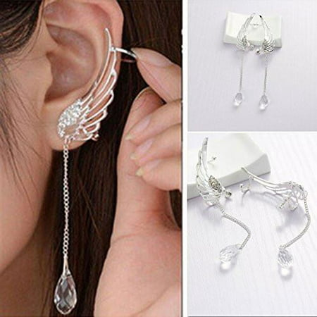 - Sexy Sparkles Angel Wing Ear Cuff Clip On Stud Wrap Earrings Tassel With Clear Rhinestones