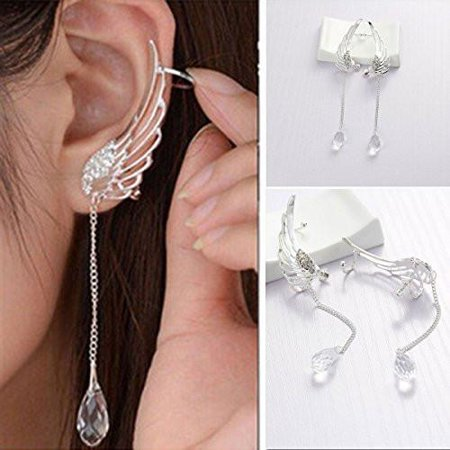 Ear Clip - Sexy Sparkles Angel Wing Ear Cuff Clip On Stud Wrap Earrings Tassel With Clear Rhinestones