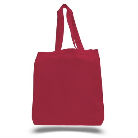 Eco-Friendly Cotton Tote Bags for Shopping, DIY, Daily Usage Set of 6 (Red)