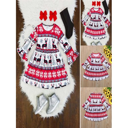 Infant Toddler Christmas Dresses (Toddler Infant Baby Girls Christmas XMAS Cartoon Deers Print Dresses Outfits)