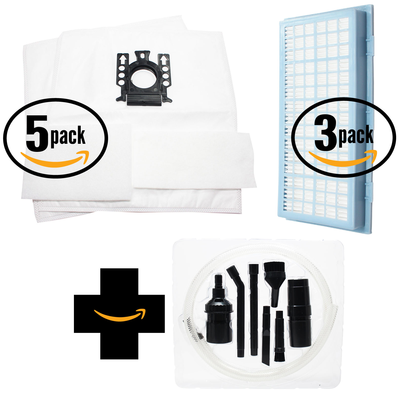 10 Replacement Miele S401i Vacuum Bags, 10 Micro Filters & 3 HEPA Filter with 7-Piece Micro Vacuum Attachment Kit - Compatible Miele Type GN Bags, Micro Filters & SF-AH 30, SF-HA 30, AH30 Filter