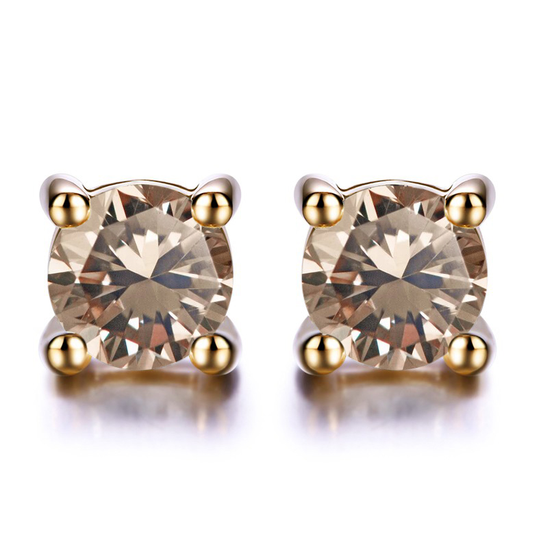 50 Carat Round Brilliant Brown Diamond Solitaire Stud Earrings In 10k Yellow Gold Walmart Canada