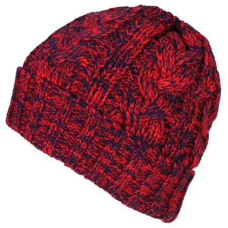 928603a21 Best Winter Hats Womens Variegated Cable Knit Messy Bun/Ponytail Cuffed  Beanie - Red/Navy
