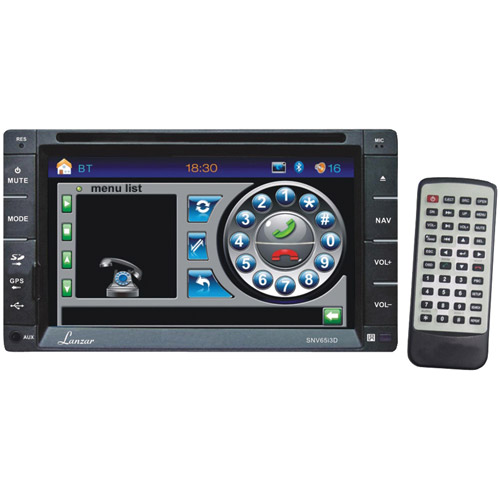 LANZAR SNV65I3D 6.5'' Double-DIN In-Dash Navigation DVD Receiver with Bluetooth(R)
